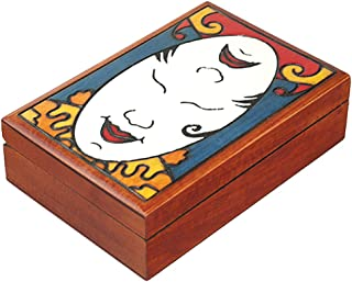MilmaArtGift Happy/Sad Face Wooden Box Polish Handmade Wood Keepsake Comedy/Tragedy