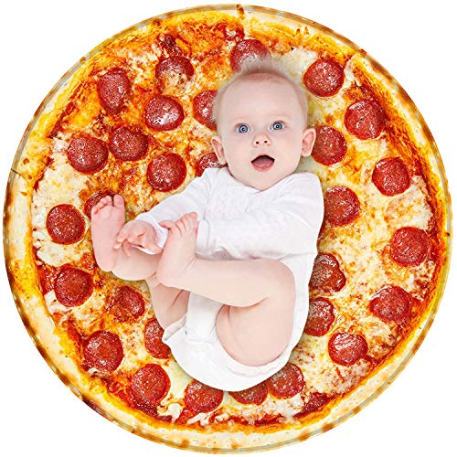 BROSHAN Baby Wrap Blanket Funny, Cute Pizza Soft Plush Swaddle Blankets for Newborn Infant Toddler Boys and Girls Gifts, Round Food Throw Blanket for Pets