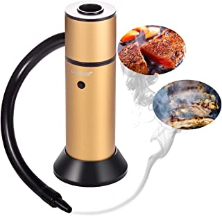 TMKEFFC Portable Smoking Gun, Food Cocktail Smoke Infuser Handheld Drink Smoker Kit for Meat Salmon Sausage Kitchen Indoor Outdoor, Wood Chips Included, Yellow