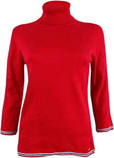 TOMMY HILFIGER Womens Knit 3/4 Sleeves Pullover Sweater