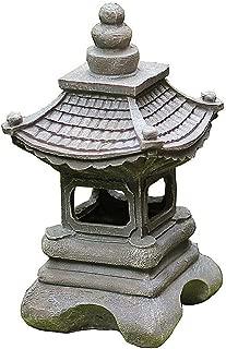 zenggp Japanese Style Solar Zen Garden Lights Lantern Pagoda Light Solar Garden Lamp Statue