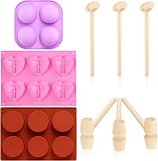 2 Sets Semi Sphere Silicone Mold Diamond Heart Chocolate Mold Round Cylinder Candy Mold with 6 Mini Wooden Hammers for Cak...