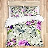 FOURFOOL Bedding Juego de Funda de Edredón,Patrón Floral con Rosas Rosadas y Bicicleta en Postal Vintage,Microfibra Funda de Nórdico y Fundas de Almohada-(Cama 140 x 200cm)