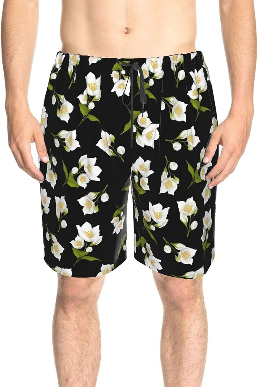 JINJUELS Men's Swim Shorts White Flower Green Leaves Beach Board Shorts Drawstring 3D Printed Athletic Beach Short