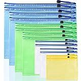 AFUNTA - 14 cartelline portadocumenti in plastica con cerniera, in 7 misure, impermeabili, in PVC, colori: giallo, bianco, verde, blu