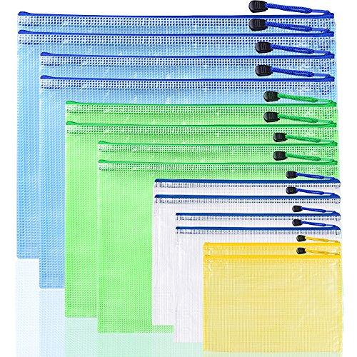 Afunta Dokumentenmappen aus Kunststoff, 7 Größen, wasserfest, mit Reißverschluss, Netzbeutel aus PVC, Gelb, Weiß, Grün, Blau, 14 Stück
