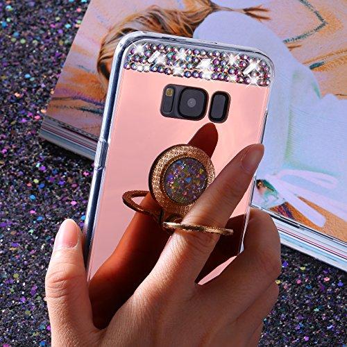 Etsue Kompatibel mit Samsung Galaxy S7 Silikon HandyHülle mit Ring Fingerhalterung Ring Ständer Spiegel Handyhülle Bling Kristall Glitzer Strass Diamant Schutzhülle TPU Silikon Hülle Tasche Rose Gold