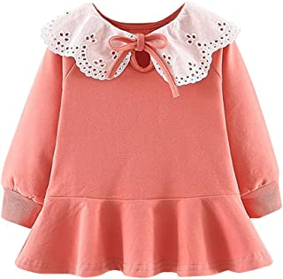 Baptism Gifts for Baby Girl,Toddler Baby Kids Girls Ruched Ruffles Lace Solid Casual Dresses Clothes