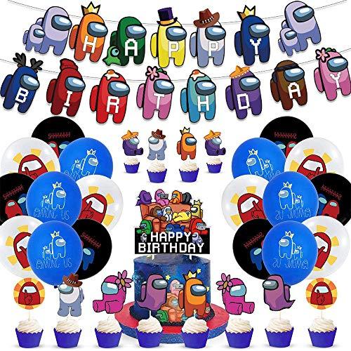 WOJIM - Among Us Party Supplies,Juego de Suministros para Fiestas de cumpleaños para niños,Cumpleaños Decoracion de Among Us Globos Pancarta de Feliz Cumpleaños Adornos para Pastel