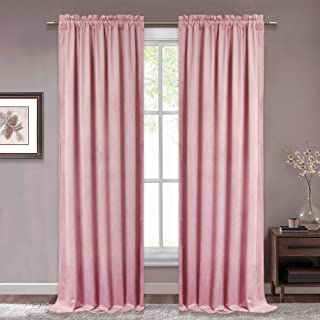 RYB HOME Pink Velvet Curtains - Soft Rod Pocket Window Curtain Set Sunlight Block Thermal Insulated Drapes for Bedroom Sound Dampen for Baby Nursery Girls Room, Wide 52 x Long 84, Blush Pink, 2 Pcs