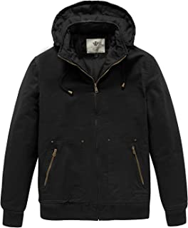 WenVen Men`s Thickened Winter Casual Cotton Jacket with Detachable Hood