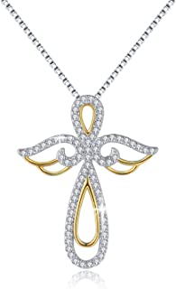 Sterling Silver Guardian Angel Pendant Necklace Womens Jewelry, 18 inch
