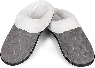 Womens House Shoes Men's Warm Slippers Cotton Home Shoes Comfortable Fleece Memory Foam Plush Lining Slip-on Cozy Clog Hou...