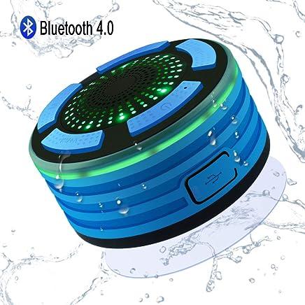 Alitoo Bluetooth Ducha Altavoz Inalámbrico Impermeable IPX7 Altavoz Portátil con Luces de Humor LED, Ventosa, Micrófono Incorporado, Radio FM, Manos Libres para Baño Cocina Coche (Azul)