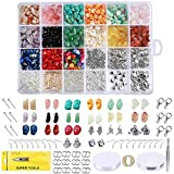 Efivs Arts Irregular Chips Stone Beads Natural Gemstone Beads Kit Rock Beads with Ear Wire Spacers Beads Pendants Elastic String Jump Rings for Jewelry Necklace Bracelet Earring DIY Crafts (15 Kinds)