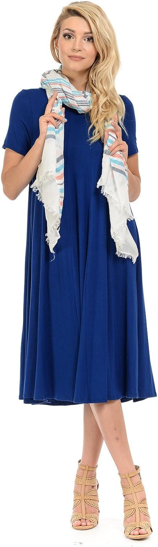 Iconic luxe Women's Short Sleeve ALine Paneled Midi Dress