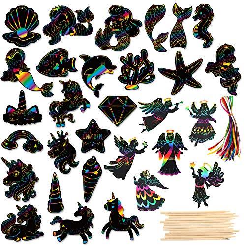 HOWAF Kratzbilder Set für Kinder, 36 Blätter Meereslebewesen Tier Dinosaurier Kratzpapier Scratch Art zum Kinder Zeichnen und Basteln Kindergeburtstag Mitgebsel Kinder mit Seile Holzstiften