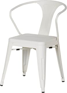 Adeco Metal Chair in Cream White Color(Set of Two)
