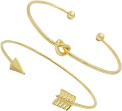 Just Because Jewelry Gold-Tone Contemporary Small Mariner Tie Loveknot and Arrow Fashion Open Ended Bangle Bracelet Set