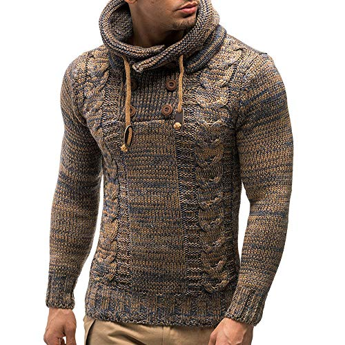 ZZBO Herren Strick-Pullover Schalkragen Slim Fit Winter Herbst Moderner Männer Einfarbig Thicken Pulli T-Shirt Langarm mit Kragen Herren Hoodie-Wollpullover M-XXL
