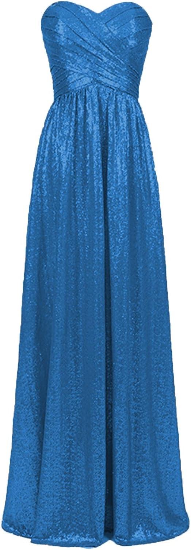 Cdress Sequins Sweetheart Long Bridesmaid Dresses Wedding Maxi Prom Evening Dress