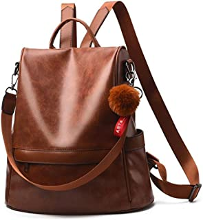 Ladies Anti-Theft PU Leather Travel Backpack Casual Daypack Women Tote Shoulder Bag, Brown