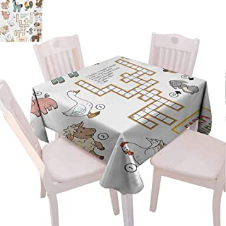 VICWOWONE Indoor Square Tablecloth Kids Game Decorative Table Crossword Educational Puzzle for Children with Different Farm Animals and Numbers (Square,W54 x L54) Multicolor
