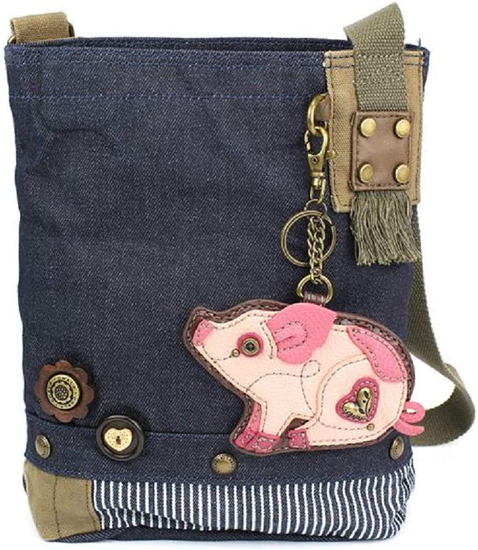 Chala Handbag Patch Crossbody Denim Navy bluee Bag Cute Pig Coin Purse