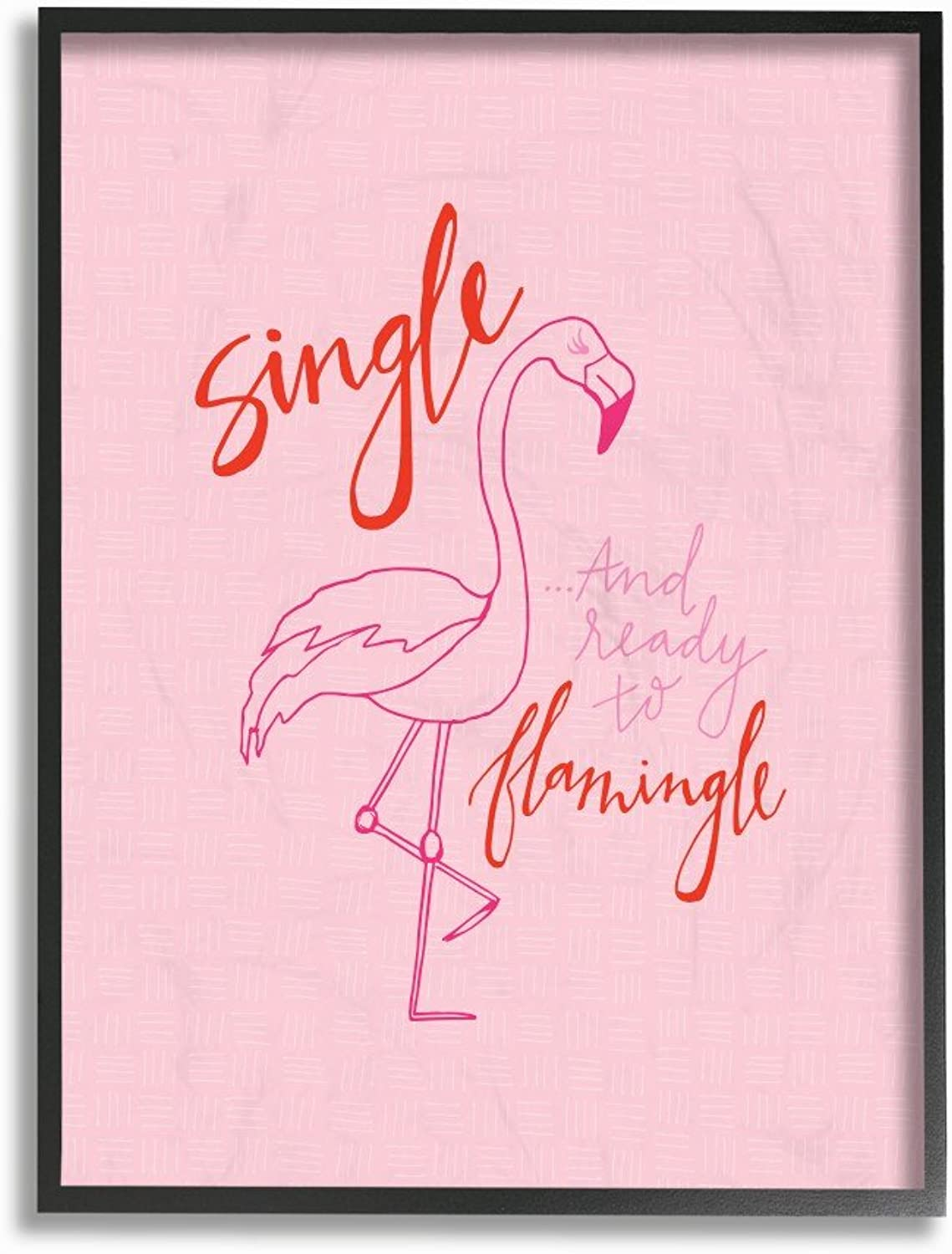 The Stupell Home Decor Collection Hot Pink Single and Ready to Flamingle Flamingo Framed Giclee Texturized Art, 11 x 14, Multicolor