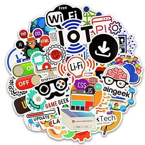 BLOUR 50 Stück Programmierung Aufkleber Technologie Software Programme Daten Kreative Aufkleber für Geek DIY Computer Laptop Telefon Ps4 Notebook