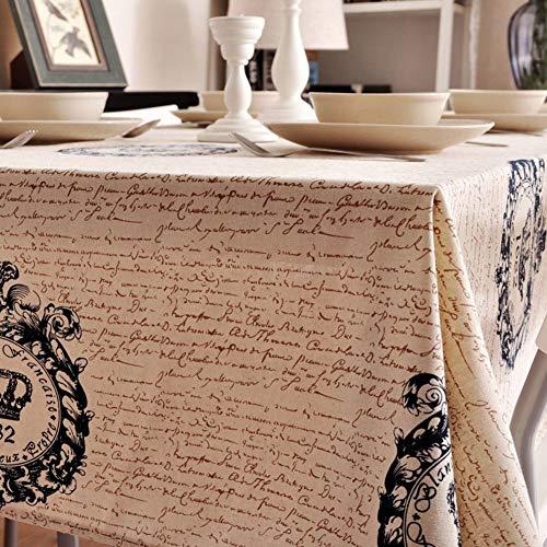 HWZXC Baumwolle Leinen Rechteck Tischdecke, staubdicht Tischdecke Vintage Alte Historische Zeitung Muster Tischwäsche Matte Für Esszimmer Küche-e 140x180 cm (55x71 Zoll)