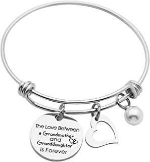 Kingmaruo Grandma Gift The Love Between A Grandmother and Grandson/Granddaughter is Forever Expendable Bangle Bracelet