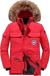 Men Down Parka Coat Winter Short Goose Down Hooded Faux Fur Jacket