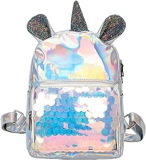 Mochila de Lentejuelas Unicornio Mochila de Lentejuelas Mágicas Bolsas traseras de Viaje Mochila Linda de Plata para niñas, Mujeres