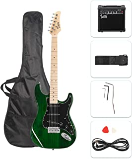 GLARRY Full Size Electric Guitar for Music Lover Beginner with 20W Amp and Accessories Pack Guitar Bag (Green)