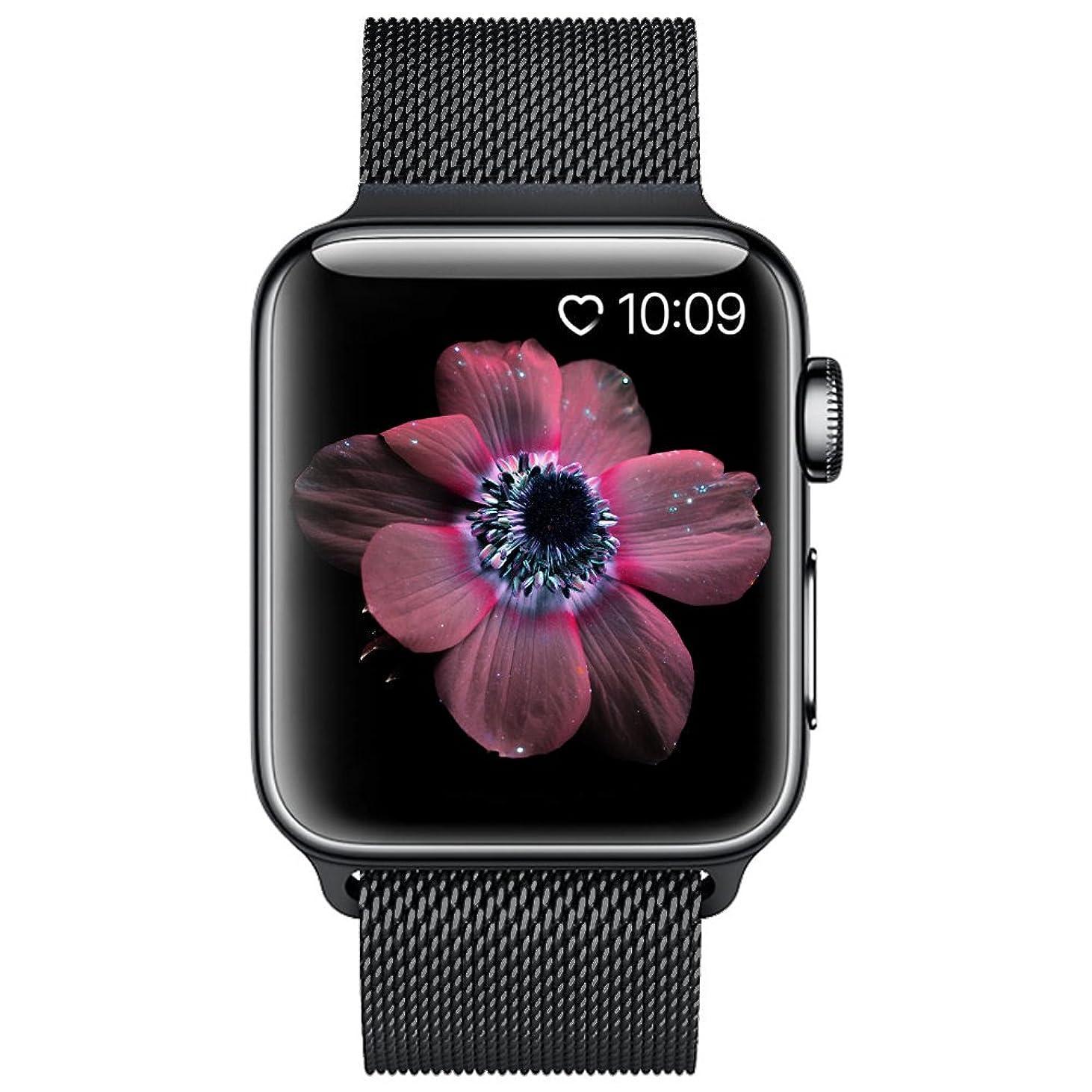 クレーン安全でない結果BRG コンパチブル apple watch バンド,ミラネーゼループ コンパチブルアップルウォッチバンド コンパチブル アップルウォッチ4 コンパチブルapple watch series4/3/2/1に対応 ステンレス留め金製(42mm/44mm,ブラック)
