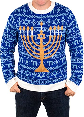 Festified Men's Chanukah is Funakah Ugly Hanukkah Sweater in Blue (Small)