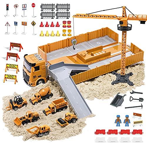OR OR TU Juguete de Construcción Camión Vehículos para Niños con Efectos de Música y Luces Grúa Móvil Grande Excavadora Juguete Juego Educativo Navidad Cumpleaño regalo para 3 4 5 6+ Años