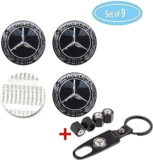 Fubai Auto Parts 4 Pack for Benz Wheel Center Caps Emblem-Black,2.56'' 65mm Benz Rim Hub Emblem Badge Sticker + 4 Pack Valve Covers Fit for Mercedes Benz All Models Benz Emblem (65MM/2.56'')