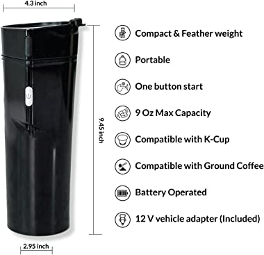 MobiBrewer 2.0, Portable Coffee Maker, Single Serve Coffee Maker, 12v Coffee Maker, K cup coffee maker, travel coffee maker,