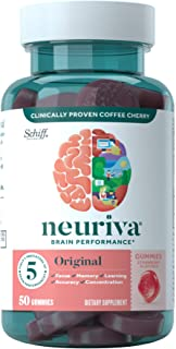 Nootropic Brain Support Supplement - NEURIVA Original Strawberry Gummies (50 count in a bottle) Phosphatidylserine, Gluten...