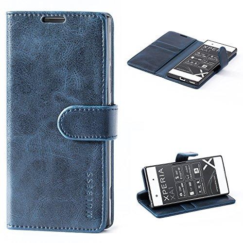 Mulbess Flip Tasche Handyhülle für Sony Xperia XA1 Hülle Leder, Sony Xperia XA1 Klapphülle, Sony Xperia XA1 Handy Hülle, Schutzhülle für Sony Xperia XA1 Handytasche, Navy Blau
