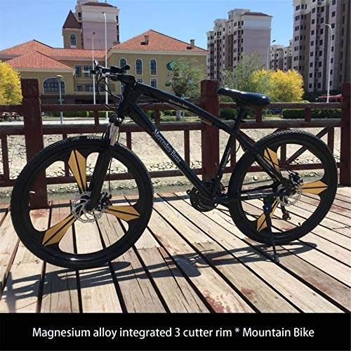 HCMNME durable bicycle 26Inch Adult Mountain Bike, Juvenile Student City Road Racing Bikes, Double Disc Brake Mens Mountain Bicycle, Magnesium Alloy Integrated 3 Cutter Rim Wheels Alloy frame wi
