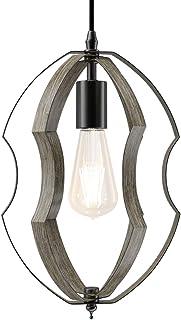 Klighten Vintage Lampe Suspension Industriel E27 Forme Ajustable, Retro Suspension Luminaire Grain de Bois en Fer pour Cui...