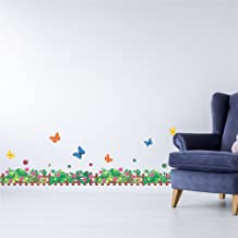 Amazon Brand - Solimo Wall Sticker for Home (Tiny Fence with Butterflies, Ideal Size on Wall, 180 cm X 50 cm)