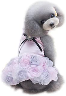 WONDERSKY Pet Small Dog Clothes Party Dress Rose Wedding Satin Puppy Costume Tutu Pink Purple Grey XS S M L XL