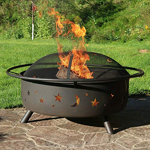 42' Fire Pit Steel Cosmic Design with Spark Screen and Firewood Poker | Happy Parents Depot
