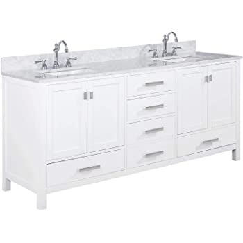 """LUCA Kitchen & Bath LC72CWW Geneva 72"""" Double Vanity Set in White with Carrara Marble Top and Sink"""
