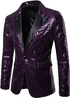 Sodossny-AU Mens Fashion Slim One Button Sequins Dance Party Blazer Suit Jacket