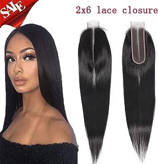 Brazilian Virgi Straight Human Hair Middle Part Lace Closure 2x6 Deep Part Lace Closure Straight Human Hair Natural Colo (12 Inch, 2x6 closure)